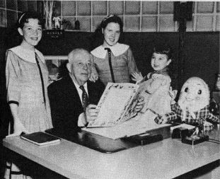 Walter Francis Cobb with his twin daughters and granddaughter