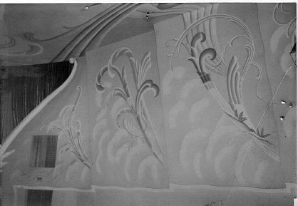 Theater auditorium, south wall showing feather motif Photo courtesy Gardner Family Collection
