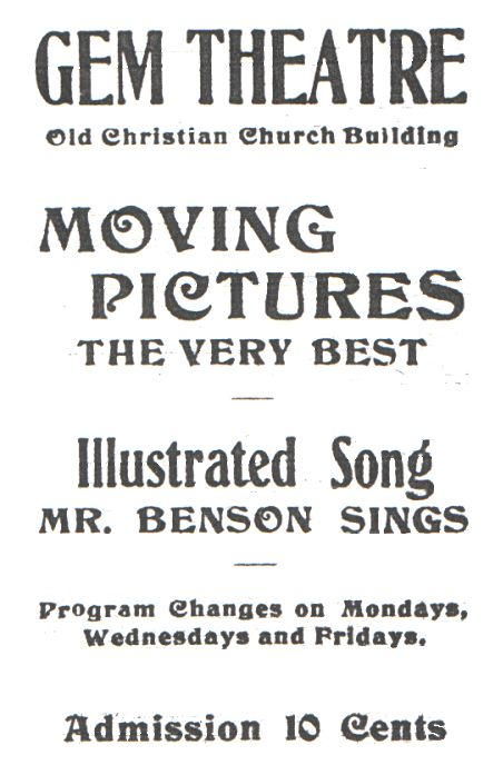 1st Gem Theatre advertisement, Colorado Transcript 1908