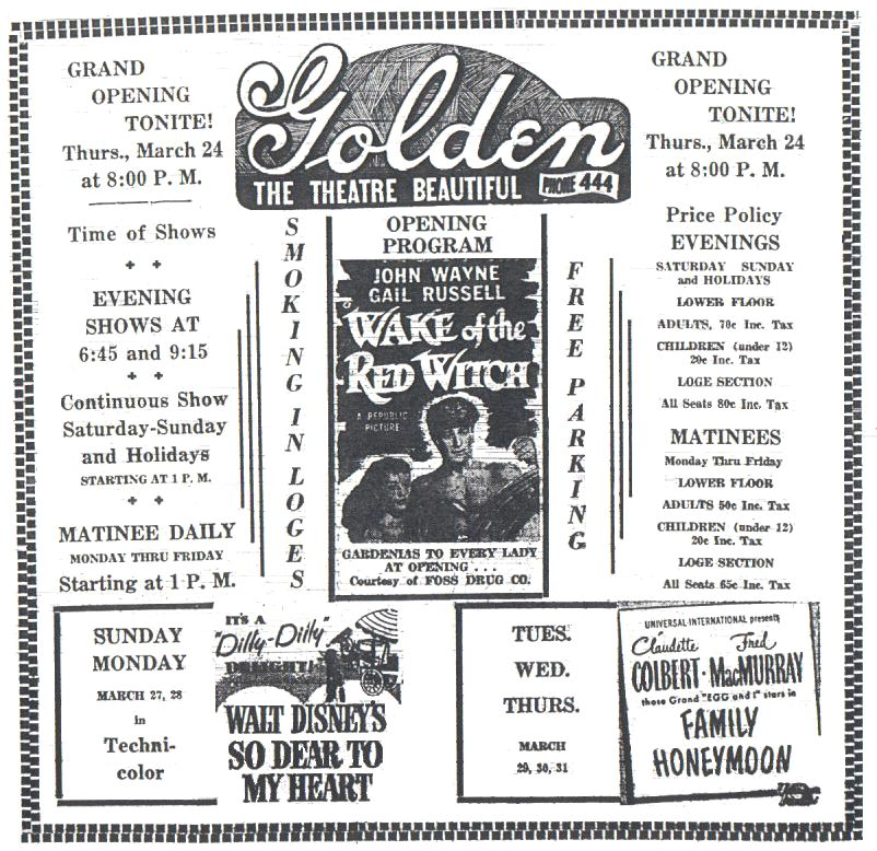 1st advertisement for the Golden Theatre, Colorado Transcript 1949