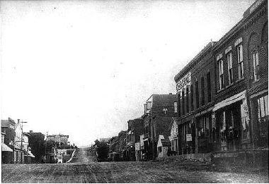 Odd Fellows Hall On Avenue West side 1100 block of Washington - 1880s Odd Fellows Hall 3rd from right Photo courtesy Gardner Family Collection
